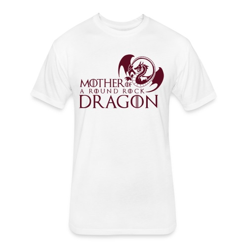 White Unisex Tee | Maroon Mother of A Round Rock Dragon - Fitted Cotton/Poly T-Shirt by Next Level