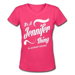Jennifer Thing - Women's V-Neck T-Shirt