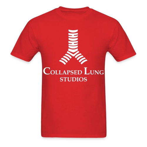 Collapsed Lung Studios Logo Men's T-Shirt (Red w/White Logo) - Men's T-Shirt