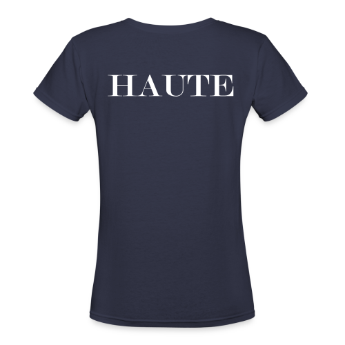 H is for HauteWomen's V-Neck T-Shirt (Navy/White)  - Women's V-Neck T-Shirt