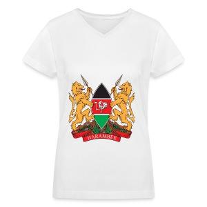 The Kenya Coat of Arms - Women's V-Neck T-Shirt
