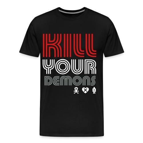 SKULL LOVES ROBOT - Mens Kill Your Demons Tee - Men's Premium T-Shirt