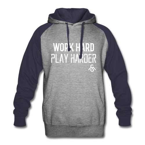 Unisex Colorblock Hoodie Work Hard Play Harder - Colorblock Hoodie