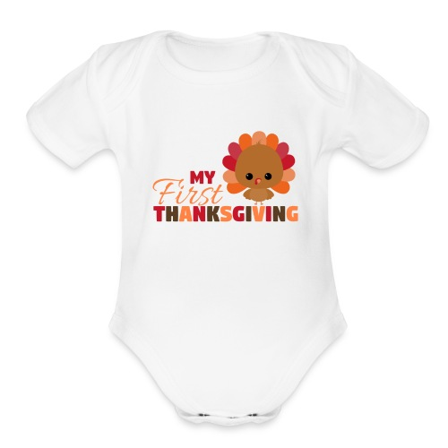 Baby First Thanksgiving - Organic Short Sleeve Baby Bodysuit