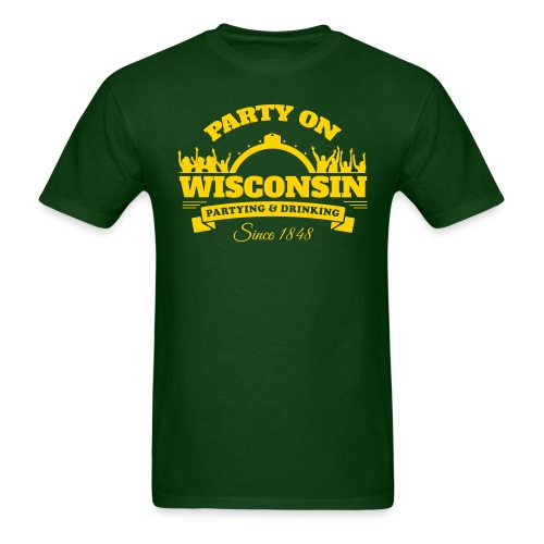 Party On Wisconsin - Green/Gold - Men's T-Shirt