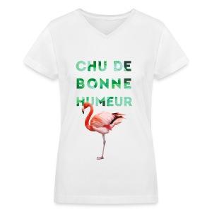 V-neck pour femmes CHU DE BONNE HUMEUR - T-shirt avec encolure en V pour femmes