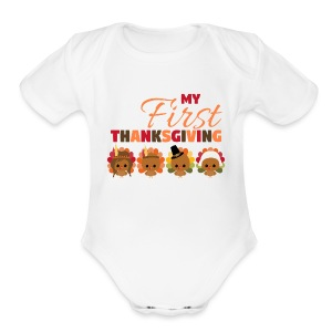 Baby First Thanksgiving - Short Sleeve Baby Bodysuit