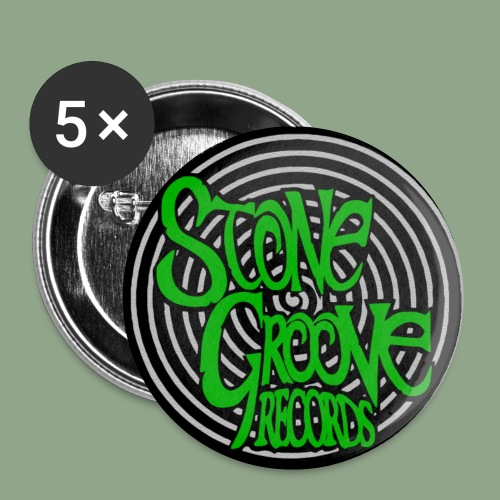 Stone Groove Records - Spiral Green Logo Button - Small Buttons