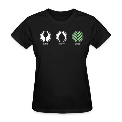 Wine Water Hope Black T-shirt - Women's T-Shirt