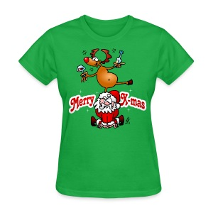 Merry X-mas from Santa Claus and his reindeer - Women's T-Shirt