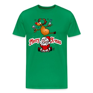 Merry Christmas - Reindeer dances on Santa Claus T-Shirts - Men's Premium T-Shirt