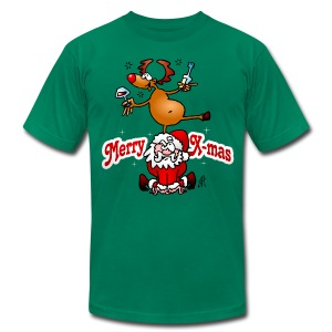 Merry X-mas from Santa Claus and his reindeer - Men's T-Shirt by American Apparel