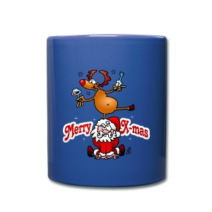 Merry Christmas - Reindeer dances on Santa Claus Mugs & Drinkware - Full Color Mug