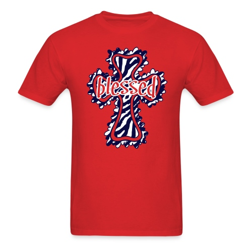 Unisex T-Shirt - Navy Zebra Print - Men's T-Shirt