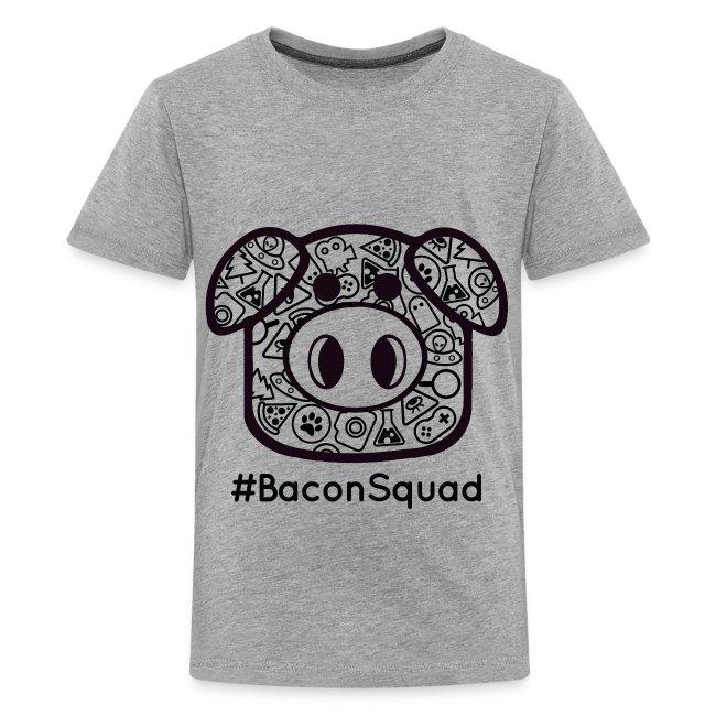 Children's Black Print Bacon Squad Tee