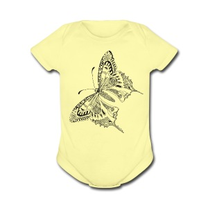 Tribal Butterfly Baby Romper by South Seas Tees - Short Sleeve Baby Bodysuit