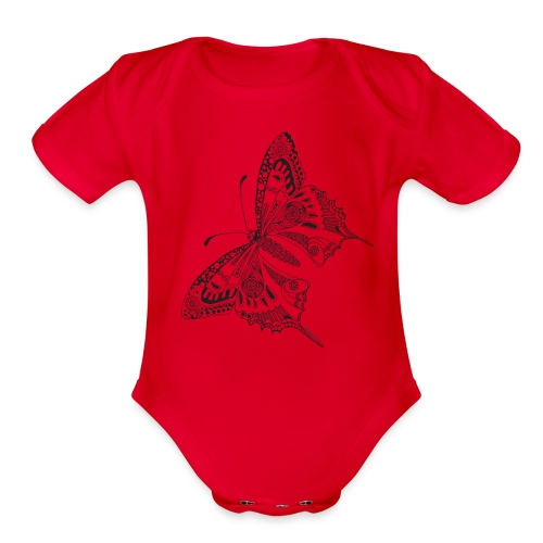 Tribal Butterfly Baby Romper by South Seas Tees - Organic Short Sleeve Baby Bodysuit