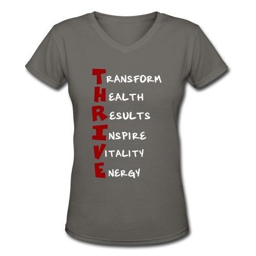 Womens V-Neck T-Shirt - Thrive Meaning - Women's V-Neck T-Shirt