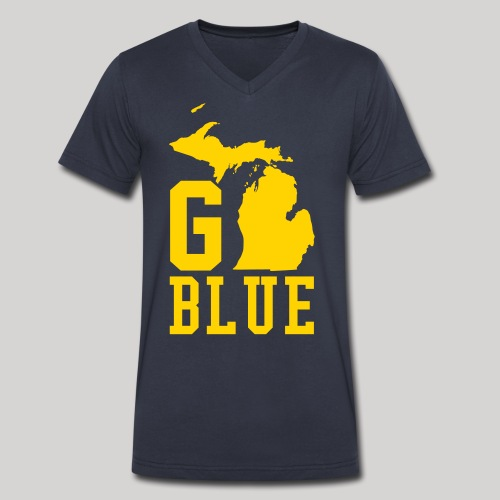 Go BLUE - Men's V-Neck T-Shirt by Canvas