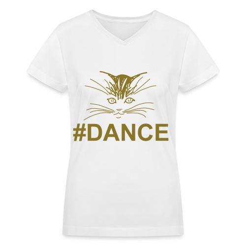 (#DANCE) Women's V-Neck T-Shirt in Flex Print (smooth) - Women's V-Neck T-Shirt