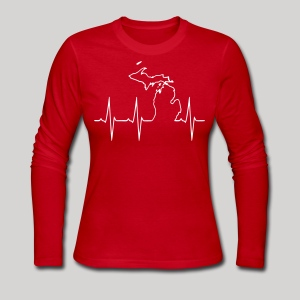 Michigan Heartbeat - Women's Long Sleeve Jersey T-Shirt