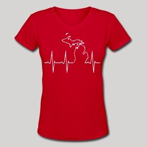Michigan Heartbeat - Women's V-Neck T-Shirt