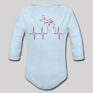 Michigan Heartbeat - Long Sleeve Baby Bodysuit