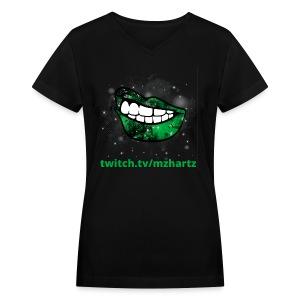 Chromakey Space Lips Ladies Tee - Women's V-Neck T-Shirt
