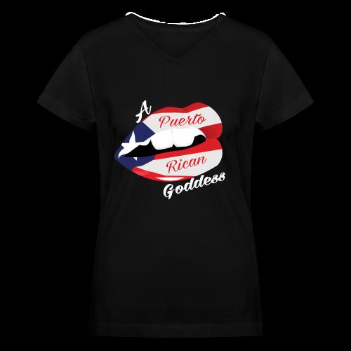Puerto Rican Goddess (White) - Women's V-Neck T-Shirt