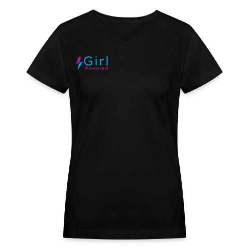 Girl Powered Womens V-Neck - Women's V-Neck T-Shirt