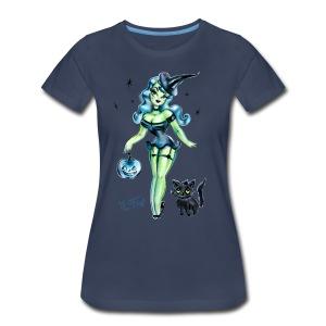Pinup Witch With Fuzzy Black Kitten - Women's Premium T-Shirt