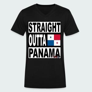 Straight Outta Panama (White) - Men's V-Neck T-Shirt by Canvas