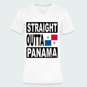 Straight Outta Panama (White) - Men's V-Neck T-Shirt by Canvas