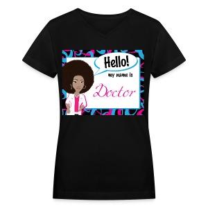 HelloAfro Striped - v neck - Women's V-Neck T-Shirt