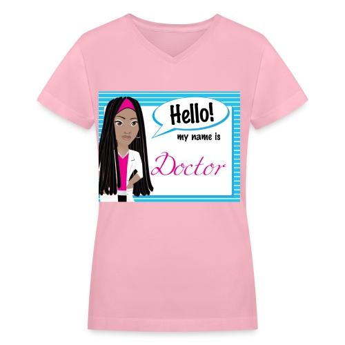 HelloDreadlocks Striped - v neck - Women's V-Neck T-Shirt
