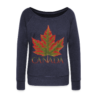 Long Sleeve Shirts ~ Women's Wideneck Sweatshirt ~ Canada Souvenir Shirts Women's Maple Leaf Sweatshirts