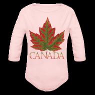 Baby Bodysuits ~ Baby Long Sleeve One Piece ~ Baby Canada One Piece Maple Leaf Canada Souvenir Shirts