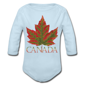 Baby Canada One Piece Maple Leaf Canada Souvenir Shirts - Long Sleeve Baby Bodysuit