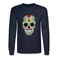 Long Sleeve Shirts ~ Men's Long Sleeve T-Shirt ~ Sugar Skull - Day of the Dead #4