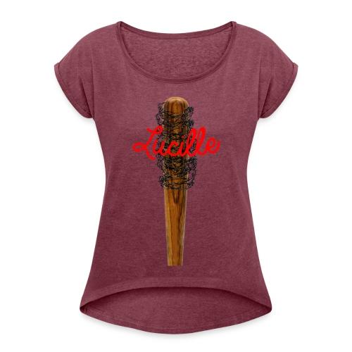 Lucille barb wire shirt - Women's Roll Cuff T-Shirt