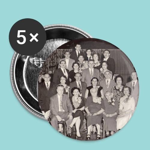 Set of 5 buttons with photo of second generation of the Fromzaglio Family - Large Buttons