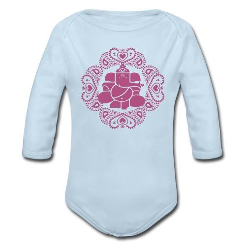 Baby Pink Ganesh Bodysuit  - Organic Long Sleeve Baby Bodysuit