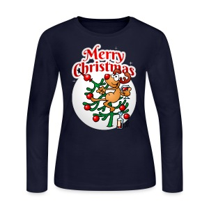 Reindeer in a Christmas tree - Merry Christmas - Women's Long Sleeve Jersey T-Shirt