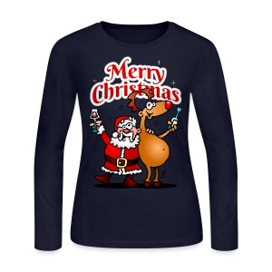 Merry Christmas - Santa Claus and his Reindeer - Women's Long Sleeve Jersey T-Shirt