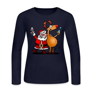 Santa Claus and his Reindeer - Women's Long Sleeve Jersey T-Shirt