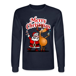 Merry Christmas - Santa Claus and his Reindeer - Men's Long Sleeve T-Shirt
