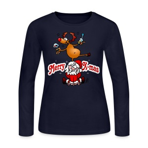 Merry X-mas from Santa Claus and his reindeer - Women's Long Sleeve Jersey T-Shirt