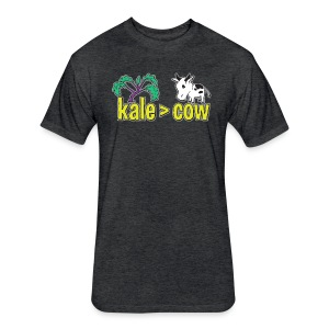 kale (is greater than) cow - Fitted Cotton/Poly T-Shirt by Next Level