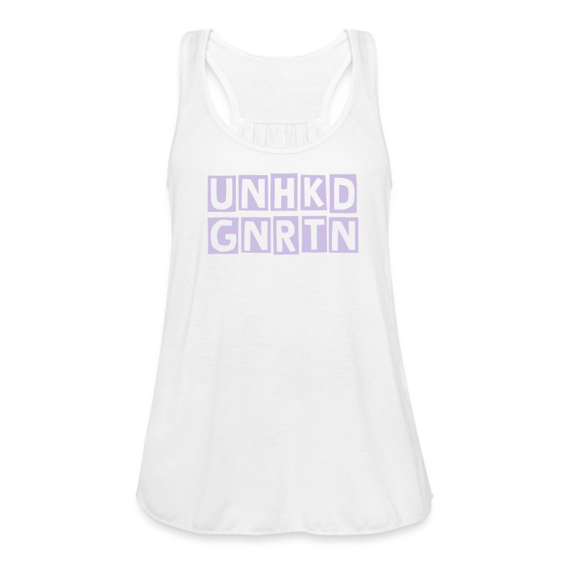 LADIES FLOWY TANK WHT/LILAC - Women's Flowy Tank Top by Bella