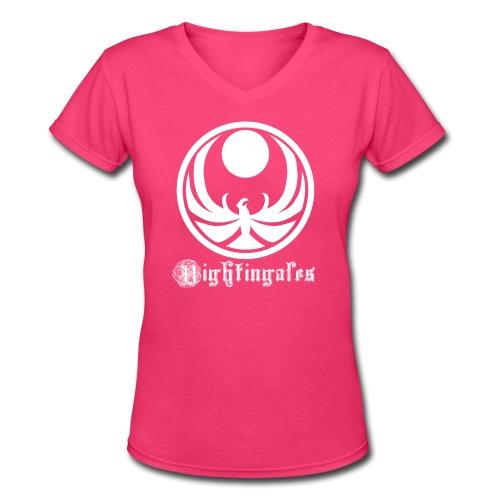 Nightingales - White - Women's V-Neck T-Shirt